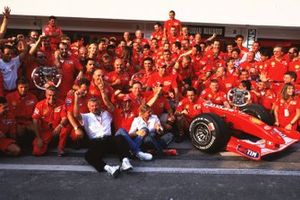 Michael Schumacher, Ferrari F2001, and team mate Rubens Barrichello