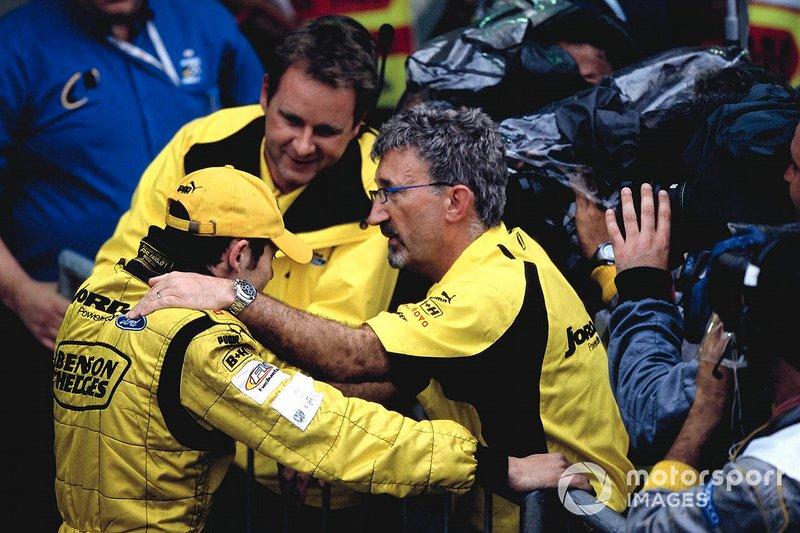 Giancarlo Fisichella, Jordan EJ13, fête sa victoire