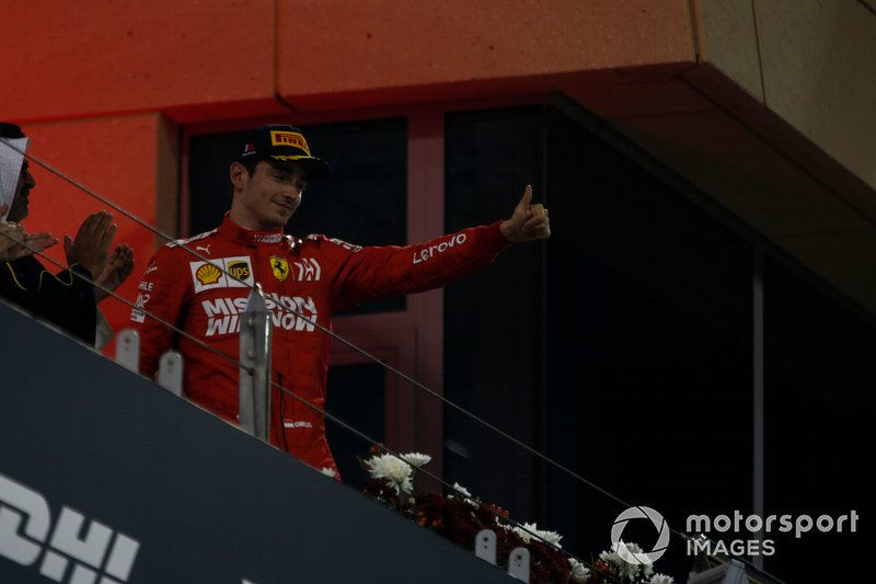 Charles Leclerc, Ferrari, 3° classificato, sul podio