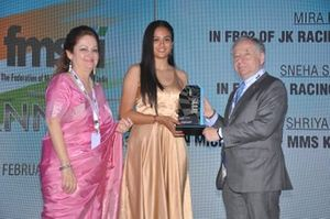 Sita Raina, FMSCI's chairperson of the ladies' wing, Mira Erda, winner of Outstanding Women in Motorsport and Jean Todt, President of FIA)