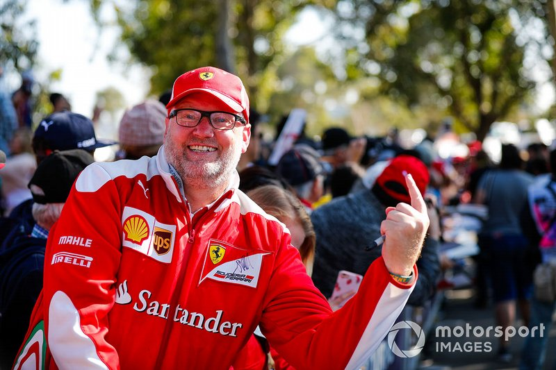 Ferrari fan waiting for the drivers arrival