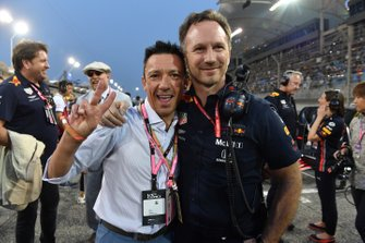 Frankie Dettori with Christian Horner, Team Principal, Red Bull Racing