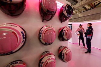 Pit crew helmets and Lance Stroll, Racing Point