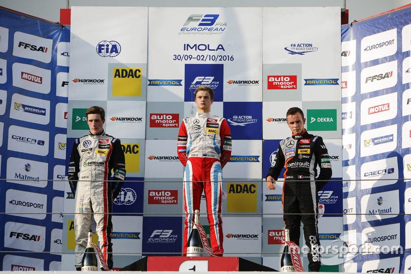 Rookie Podium: Joel Eriksson, Motopark Dallara F312 – Volkswagen; Ralf Aron, Prema Powerteam Dallara