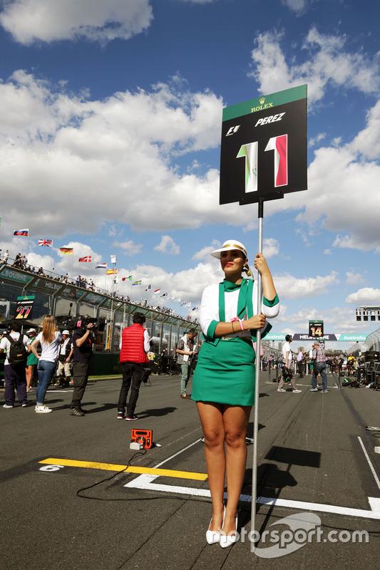 Gridgirl voor Sergio Perez, Sahara Force India F1