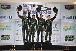 Overall winners Johannes van Overbeek, Scott Sharp, Ed Brown, Pipo Derani, ESM Racing