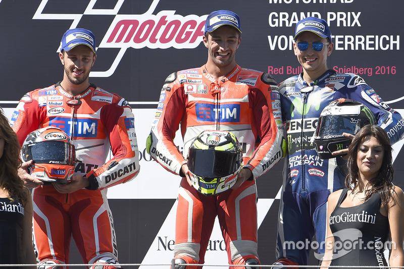 1. Andrea Iannone, 2. Andrea Dovizioso, 3. Jorge Lorenzo