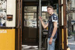 Daniil Kvyat gets in the historical tram of Milano