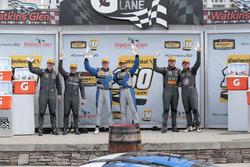 Podium: race winners Cameron Cassels, Trent Hindman, Bodymotion Racing, second place Tyler McQuarrie, Tilt Bechtolscheimer, CJ Wilson Racing, third place Daniel Burkett, Marc Miller, CJ Wilson Racing