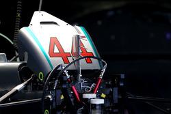 Detail der Front des Mercedes AMG F1 W07 von Lewis Hamilton