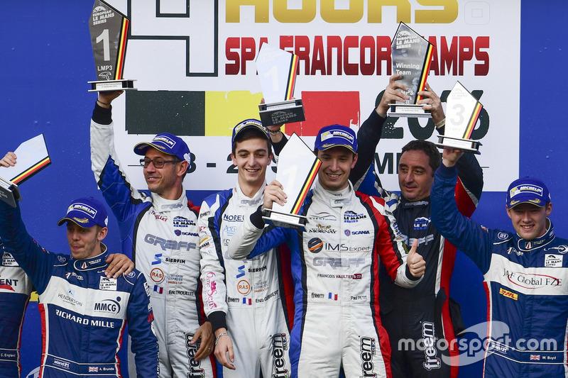 LMP3-Podium: Sieger #9 Graff Racing, Ligier JS P3 - Nissan: Eric Trouillet, Paul Petit, Enzo Guibbert