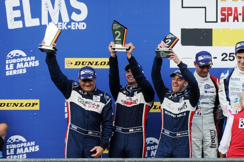 LMP3-Podium: 2. #2 United Autosports Ligier JSP3 - Nissan: Alex Brundle, Mike Guasch, Christian Engl