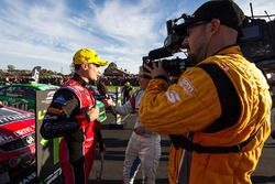 Winner Tim Slade, Brad Jones Racing Holden with the media