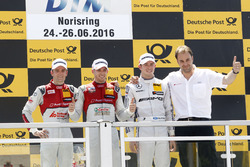 Podium: Race winner Edoardo Mortara, Audi Sport Team Abt Sportsline, Audi RS 5 DTM; second place Jamie Green, Audi Sport Team Rosberg, Audi RS 5 DTM; third place Paul Di Resta (GBR) Mercedes-AMG Team HWA, Mercedes-AMG C63 DTM; Thomas Biermaier, Sportdirector Audi Team Abt Sportsline