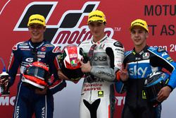 Podium: winner Francesco Bagnaia, Aspar Team Mahindra, second place Fabio Di Giannantonio, Gresini R