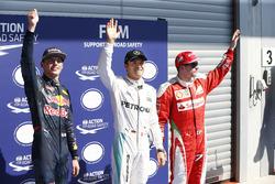 Qualifying top three in parc ferme (L to R): Max Verstappen, Red Bull Racing, second; Nico Rosberg, Mercedes AMG F1, pole position; Kimi Raikkonen, Ferrari, third