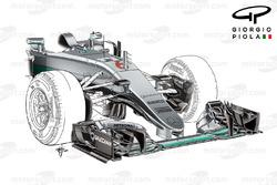 Le nez de la Mercedes W07 au GP de Monaco