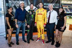 Kurt Busch y Ryan Hunter-Reay con el presiente de la Race of Champions Fredrik Johnsson