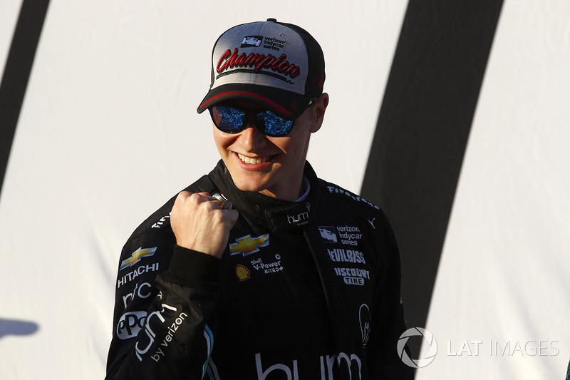 2017-kampioen Josef Newgarden, Team Penske Chevrolet viert feest