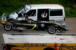 The car of Lando Norris, Carlin Dallara F317 - Volkswagen after the crash