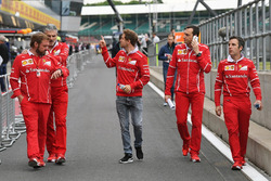 Sebastian Vettel, Ferrari walks the track, Maurizio Arrivabene, Ferrari Team Principal, Gino Rosato, Ferrari and Riccardo Adami, Ferrari Race Engineer