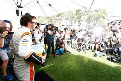 Fernando Alonso, McLaren, poses for photographers