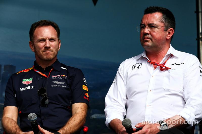 Christian Horner, Red Bull Racing RB13 con Eric Boullier, McLaren