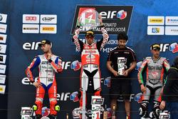 Podio Gara 2: Vincitore Michele Pirro, Ducati, secondo Lorenzo Zanetti, terzo Matteo Baiocco, Aprilia