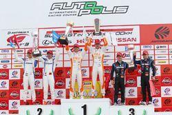 GT500 podium: winners #36 Team Tom's Lexus LC500: Kazuki Nakajima, James Rossiter, second place #17