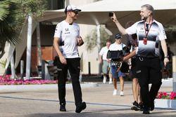 Jenson Button, McLaren with Steve Cooper, McLaren Press Officer
