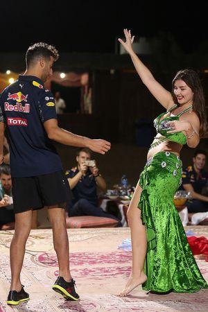 Daniel Ricciardo, Red Bull Racing dance on stage