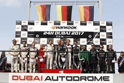 Podium: Race winner #911 Herberth Motorsport Porsche 991 GT3 R: Daniel Allemann, Ralf Bohn, Robert R