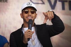 Lewis Hamilton, Mercedes AMG F1, speaks to fans