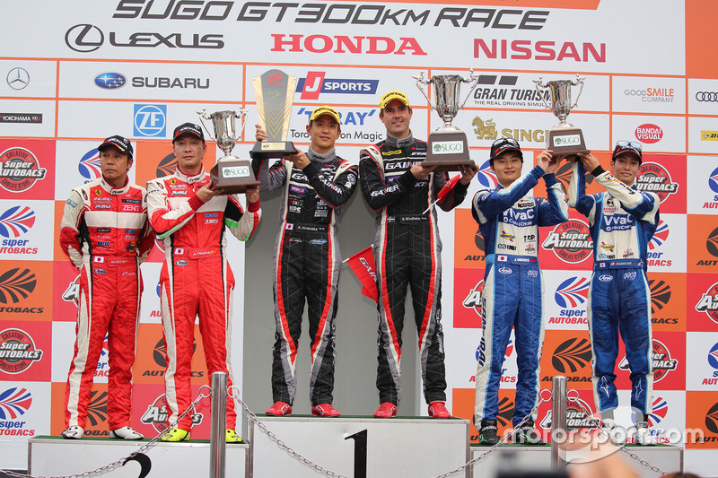 GT300 podium: race winners #11 Gainer Mercedes SLS AMG GT3: Katsuyuki Hiranaka, Bjorn Wirdheim, second place #50 Arnage Racing Ferrari 488 GT: Akihiro Tsuzuki, Morio Nitta, third place #25 Team Tsuchiya Toyota MC86: Takamitsu Matsui, Kenta Yamashita