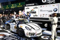 Race winner #12 Bodymotion Racing Porsche Cayman GT4: Cameron Cassels, Trent Hindman