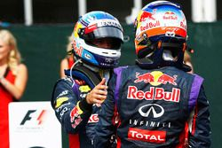Race winner Daniel Ricciardo, Red Bull Racing, and Sebastian Vettel, Red Bull Racing in parc ferme