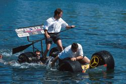 The Sauber team get that sinking feeling in the traditional mechanics raft race