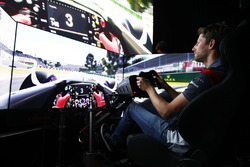 Romain Grosjean, Haas F1 Team drives a lap of the Circuit Gilles Villeneuve on a simulator