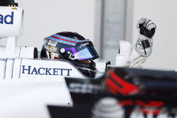 Lance Stroll, Williams, celebrates third place in parc ferme