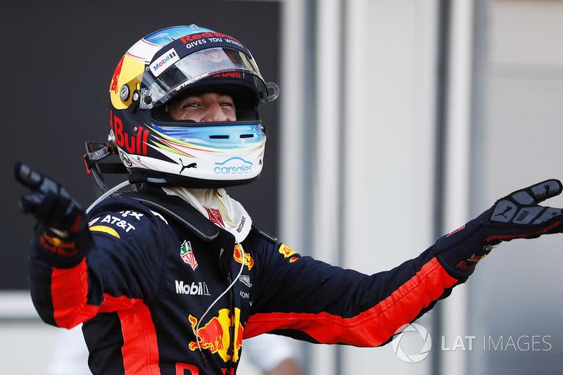 Daniel Ricciardo, Red Bull Racing, celebrates his victory in parc ferme
