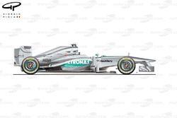 Mercedes W04 side view, launch car