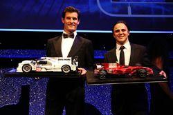 Mark Webber and Felipe Massa receive model cars