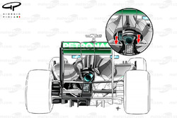Mercedes W05 rear end detail (inset focusing on upper wishbone position)