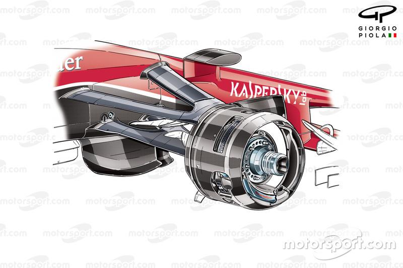 Pinza delantera del Ferrari SF15-T