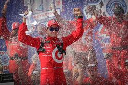 Kyle Larson, Chip Ganassi Racing Chevrolet, celebrates in Victory Lane