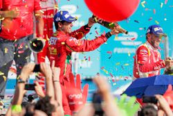 Lucas di Grassi, ABT Schaeffler Audi Sport sprays the champagne on the podium