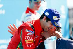 Lucas di Grassi, ABT Schaeffler Audi Sport, is congratulated on the podium