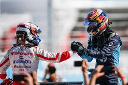 Felix Rosenqvist, Mahindra Racing, congratulates Sébastien Buemi, Renault e.Dams