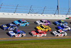A.J. Allmendinger, JTG Daugherty Racing Chevrolet, Chase Elliott, Hendrick Motorsports Chevrolet and Aric Almirola, Richard Petty Motorsports Ford