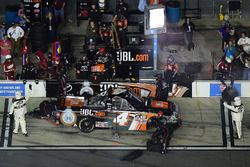 Christopher Bell, Kyle Busch Motorsports Toyota, pits as officials indicate 5 minutes to fix the veh